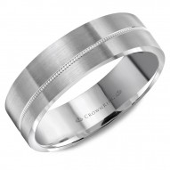 CrownRing brushed white gold wedding band with a milgrain line.