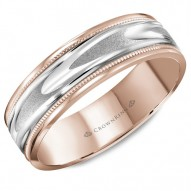 CrownRing rose gold wedding band with a patterned white gold center and milgrain detailing.