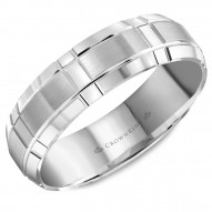 CrownRing white gold wedding band with brushed center and intricate line detailing.