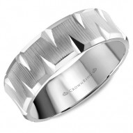 CrownRing wedding band in white gold with a textured center and carved detailing.