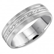 CrownRing white gold wedding band with a milgrain patterned center.