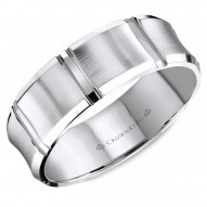 CrownRing white gold wedding band with brushed center and line detailing.