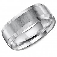 CrownRing A soft square wedding band in white gold with brushed center.