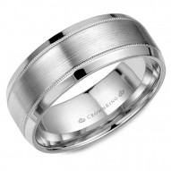 CrownRing wedding band in white gold with brushed center and delicate milgrain detailing.