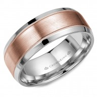 CrownRing wedding band in white gold with brushed rose gold center and delicate milgrain detailing.