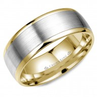CrownRing yellow gold wedding band with white gold brushed center.