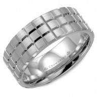 CrownRing brushed  white gold wedding band with complicated notch detailing.