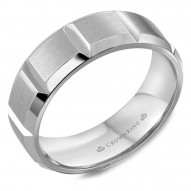 CrownRing brushed  white gold wedding band with notch detailing.