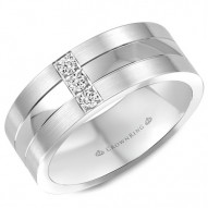 CrownRing white gold wedding band with 3 round diamonds.