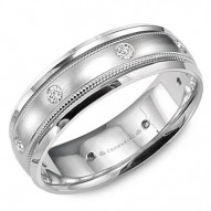 CrownRing white gold wedding band with brushed center, milgrain detailing and six round diamonds.