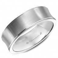 CrownRing brushed white gold wedding band with polished edges.
