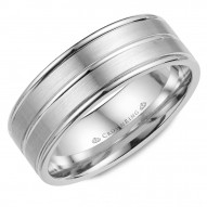 CrownRing white gold wedding band with line detailing.