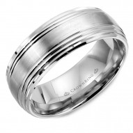 CrownRing wedding band in white gold with brushed center and line detailing.