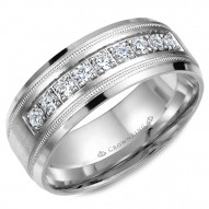 CrownRing wedding band with nine round diamonds and milgrain detailing.