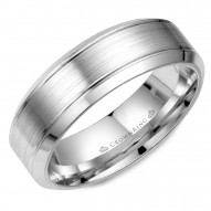 CrownRing white gold wedding band with brushed center.