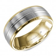 CrownRing yellow gold wedding band with brushed white gold center.