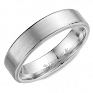 CrownRing wedding band in white gold with brushed center and polished edges.