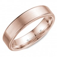 CrownRing wedding band in rose gold with brushed center and polished edges .