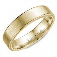 CrownRing wedding band in yellow gold with brushed center and polished edges.