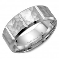 CrownRing white gold wedding band with a hammered finish and notch detailing.