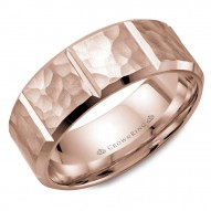 CrownRing rose gold wedding band with a hammered finish and notch detailing.