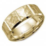 CrownRing yellow gold wedding band with a hammered finish and notch detailing.