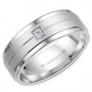 CrownRing wedding band with brushed center and a square cut diamond.