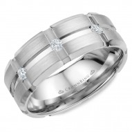CrownRing brushed wedding band featuring three round diamonds.