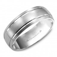 CrownRing brushed white gold wedding band with line detailing.
