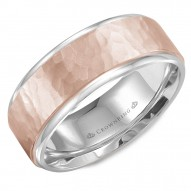 CrownRing white gold wedding band with a hammered rose gold center.