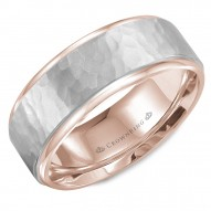 CrownRing rose gold wedding band with a hammered white gold center.