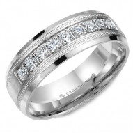 CrownRing white gold wedding band with milgrain details and nine round cut diamonds.