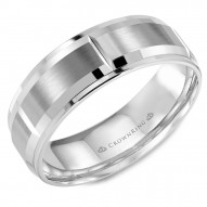 CrownRing brushed white gold wedding band with notch detailing and beveled edges.