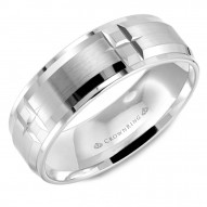 CrownRing white gold wedding band with brushed center and notch detailing.