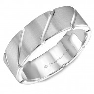 CrownRing white gold wedding band with with diagonal notch detailing.