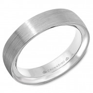 CrownRing brushed white gold wedding band.