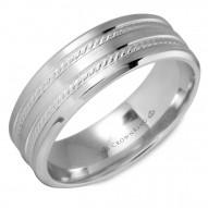 CrownRing white gold wedding band with two milgrain lines.