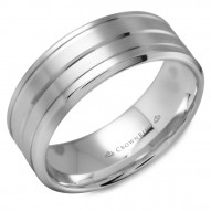CrownRing white gold wedding band with brushed finish and line detailing.