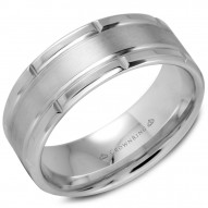 CrownRing A polished white gold wedding band with brushed center and notch edges.