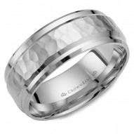 CrownRing white gold wedding band with a hammered center and beveled edges.