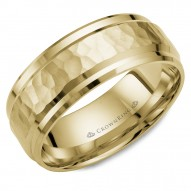 CrownRing yellow gold wedding band with a hammered center and beveled edges.
