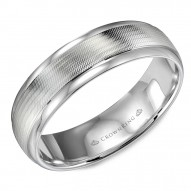 CrownRing white gold wedding band with a textured center and polished edges.
