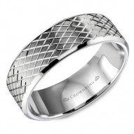 CrownRing wedding band in white gold with a carved line pattern.