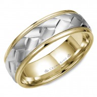 CrownRing yellow gold wedding band with milgrain detailing and a carved white gold center .