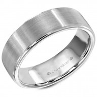CrownRing white gold wedding band with polished edges.