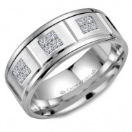 CrownRing white gold wedding band with 12 diamonds and line detailing.