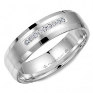 CrownRing wedding band in white gold with brushed center, featuring nine diamonds and beveled edges.