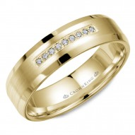 CrownRing wedding band in yellow gold with brushed center, featuring nine diamonds and beveled edges.