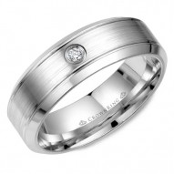 CrownRing white gold wedding band with a round diamond.