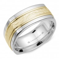 CrownRing A soft square white gold wedding band with a hammered yellow gold center.